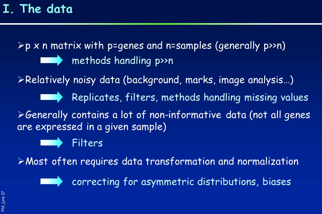 I. The data  p x n matrix with p=genes and n=samples (generally p>>n)  Relatively noisy data (background, marks, image analysis…)  Most often requi