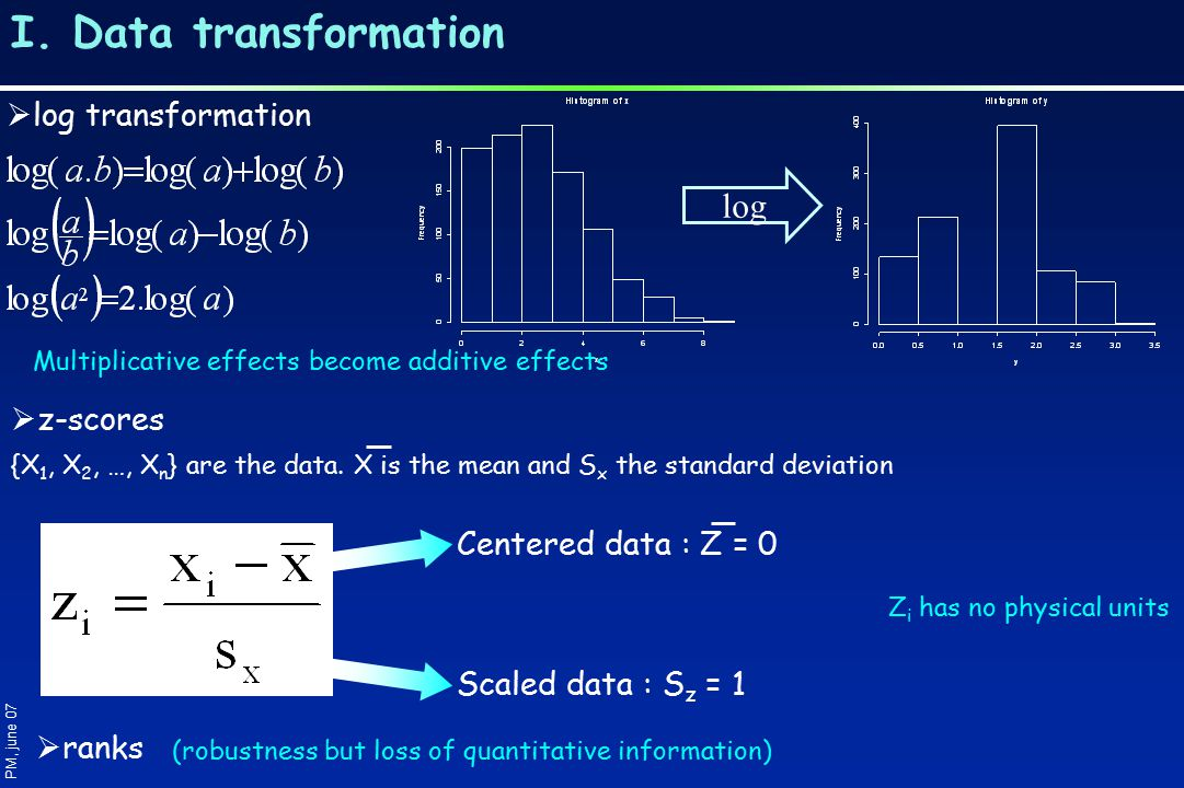 I. Data transformation log  log transformation Multiplicative effects become additive effects PM, june 07  z-scores {X 1, X 2, …, X n } are the data