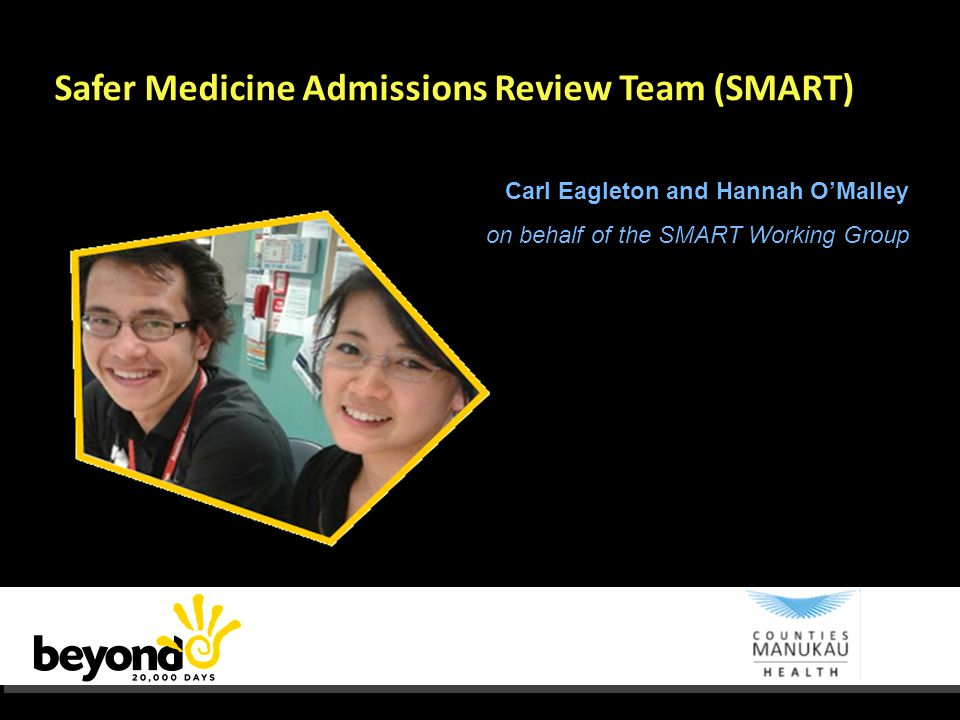 Safer Medicine Admissions Review Team (SMART) Carl Eagleton and Hannah O'Malley on behalf of the SMART Working Group