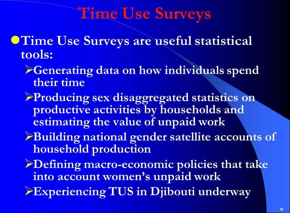 18 Time Use Surveys Time Use Surveys are useful statistical tools:  Generating data on how individuals spend their time  Producing sex disaggregated statistics on productive activities by households and estimating the value of unpaid work  Building national gender satellite accounts of household production  Defining macro-economic policies that take into account women's unpaid work  Experiencing TUS in Djibouti underway