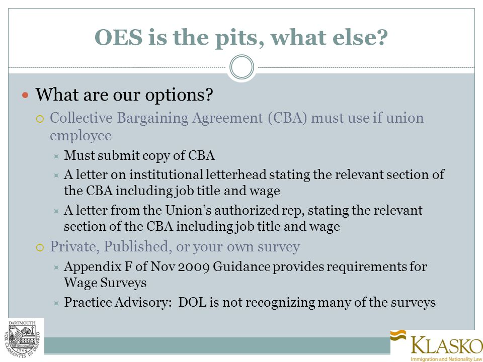 OES is the pits, what else. What are our options.