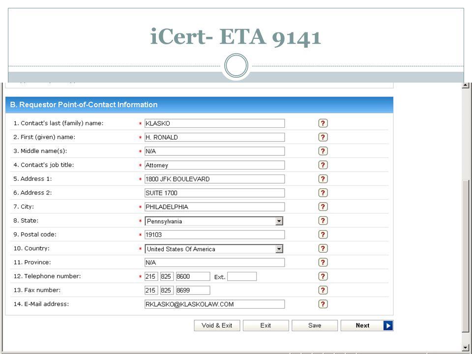iCert- ETA 9141
