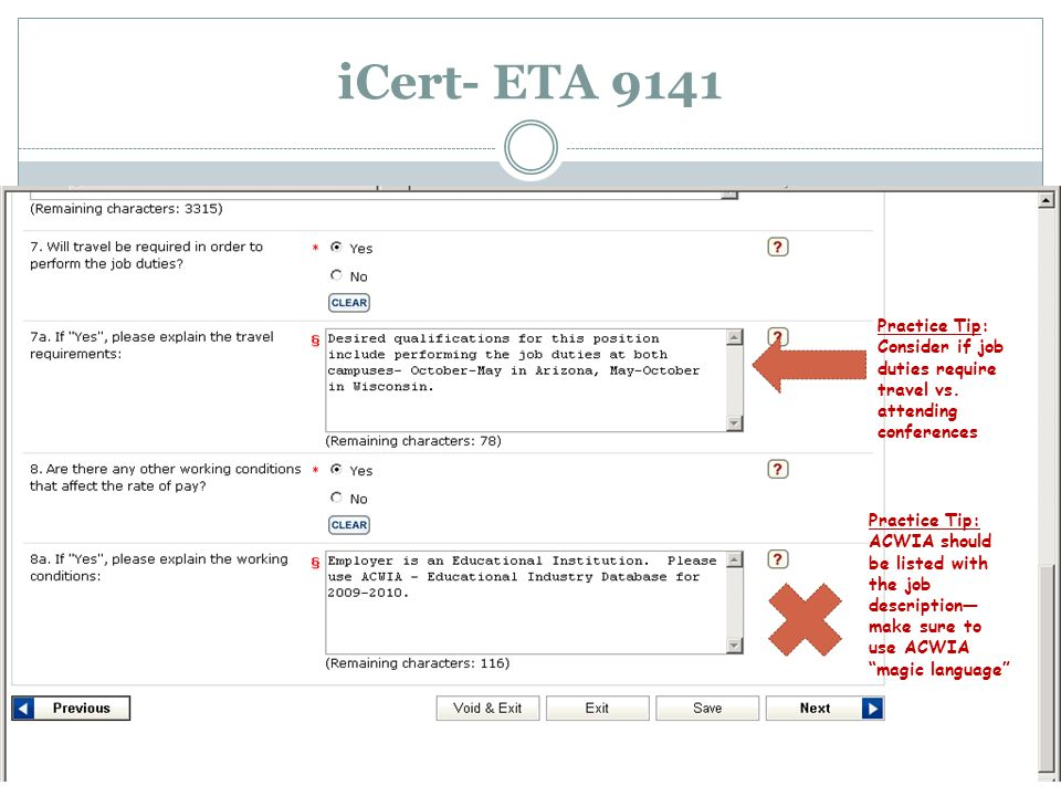 iCert- ETA 9141 Practice Tip: Consider if job duties require travel vs.