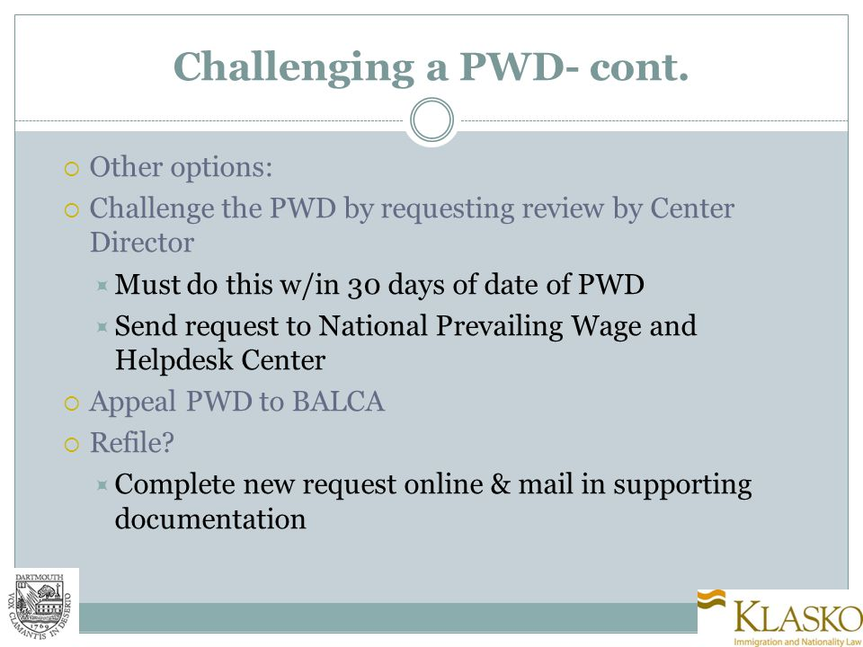 Challenging a PWD- cont.