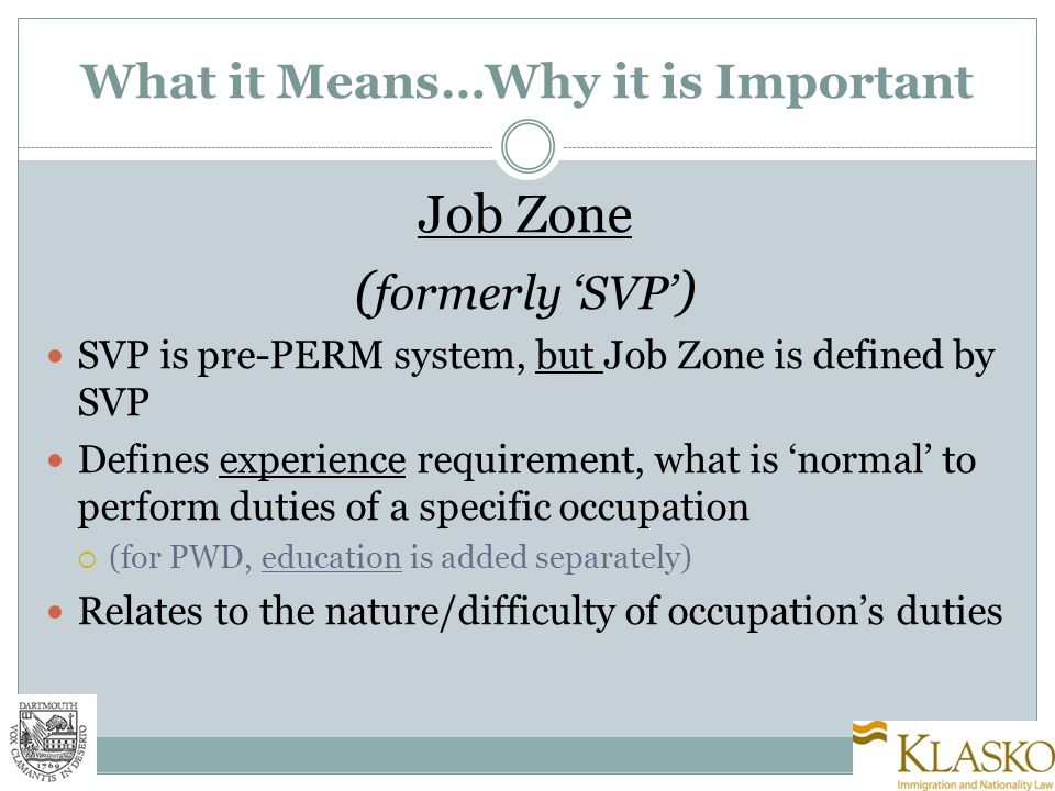 Corresponding SVP & Job Zones Job Zone One:  Normal: No experience required  Examples: Cashiers; Maids; Waitstaff Job Zone Two:  Normal: 3 Months to 1 Year  Examples: Ba kers; Pharmacy Aides; Receptionist Job Zone Three:  Normal: 1 to 2 years  Examples: Court Reporters; Dental Assistants
