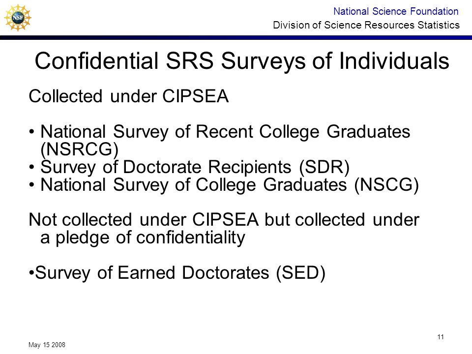 National Science Foundation Division of Science Resources Statistics May 15 2008 11 Confidential SRS Surveys of Individuals Collected under CIPSEA National Survey of Recent College Graduates (NSRCG) Survey of Doctorate Recipients (SDR) National Survey of College Graduates (NSCG) Not collected under CIPSEA but collected under a pledge of confidentiality Survey of Earned Doctorates (SED)