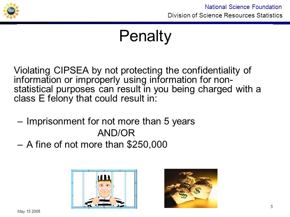 National Science Foundation Division of Science Resources Statistics May 15 2008 5 Penalty Violating CIPSEA by not protecting the confidentiality of i