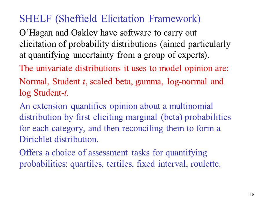 SHELF (Sheffield Elicitation Framework) O'Hagan and Oakley have software to carry out elicitation of probability distributions (aimed particularly at quantifying uncertainty from a group of experts).