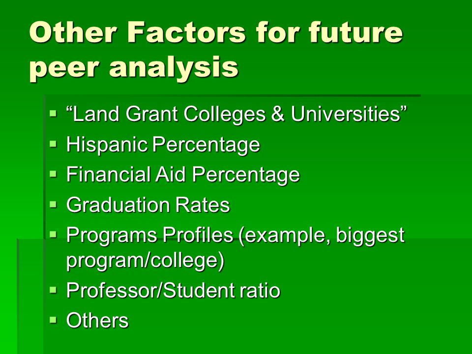 Other Factors for future peer analysis  Land Grant Colleges & Universities  Hispanic Percentage  Financial Aid Percentage  Graduation Rates  Programs Profiles (example, biggest program/college)  Professor/Student ratio  Others
