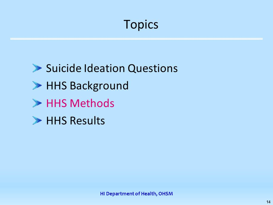 HI Department of Health, OHSM 14 Topics Suicide Ideation Questions HHS Background HHS Methods HHS Results