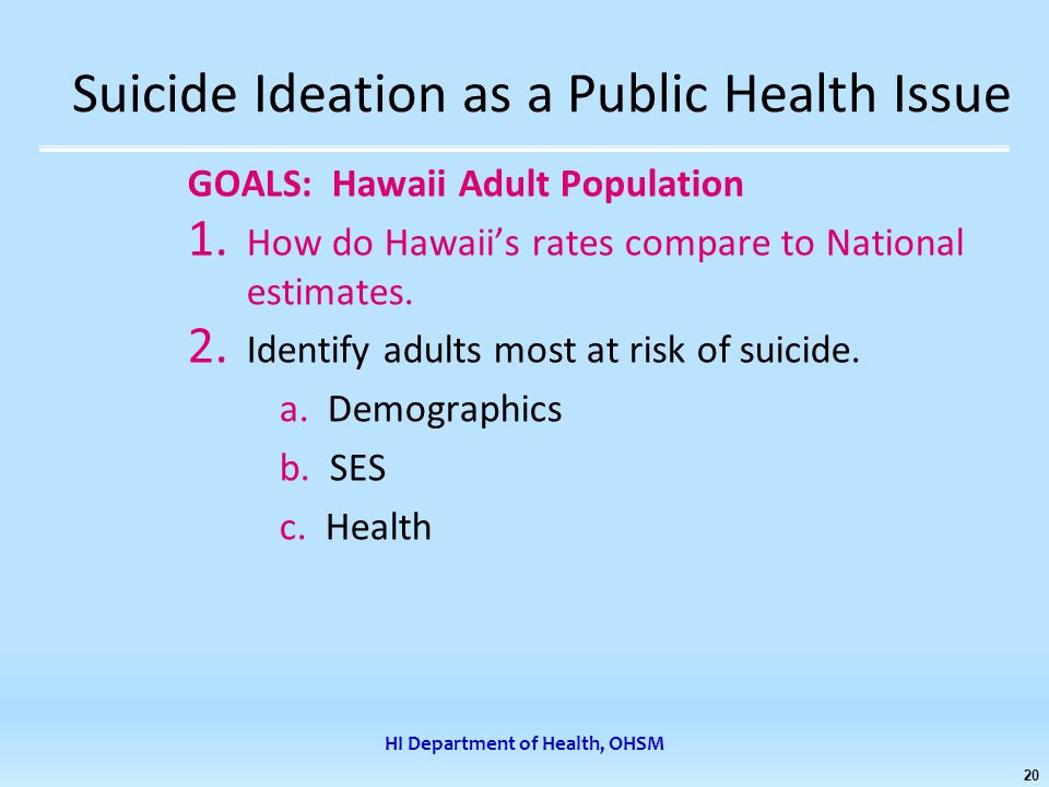 HI Department of Health, OHSM 20 Suicide Ideation as a Public Health Issue GOALS: Hawaii Adult Population 1.