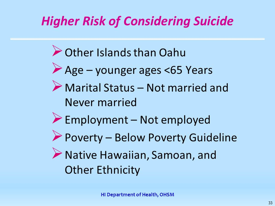 HI Department of Health, OHSM 33 Higher Risk of Considering Suicide  Other Islands than Oahu  Age – younger ages <65 Years  Marital Status – Not married and Never married  Employment – Not employed  Poverty – Below Poverty Guideline  Native Hawaiian, Samoan, and Other Ethnicity