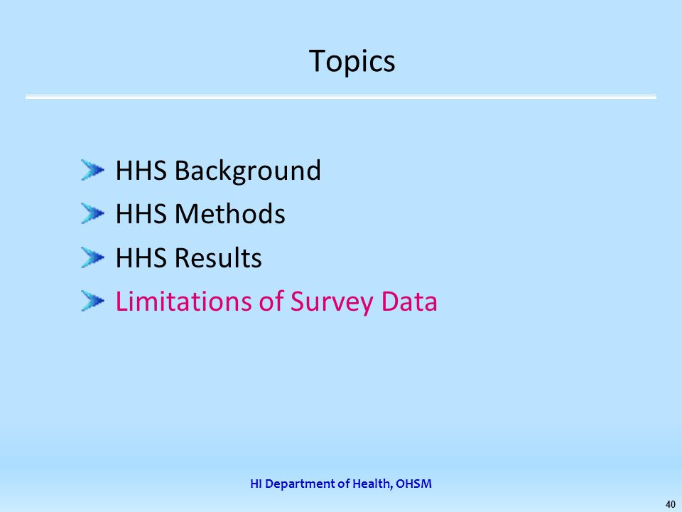 HI Department of Health, OHSM 40 Topics HHS Background HHS Methods HHS Results Limitations of Survey Data