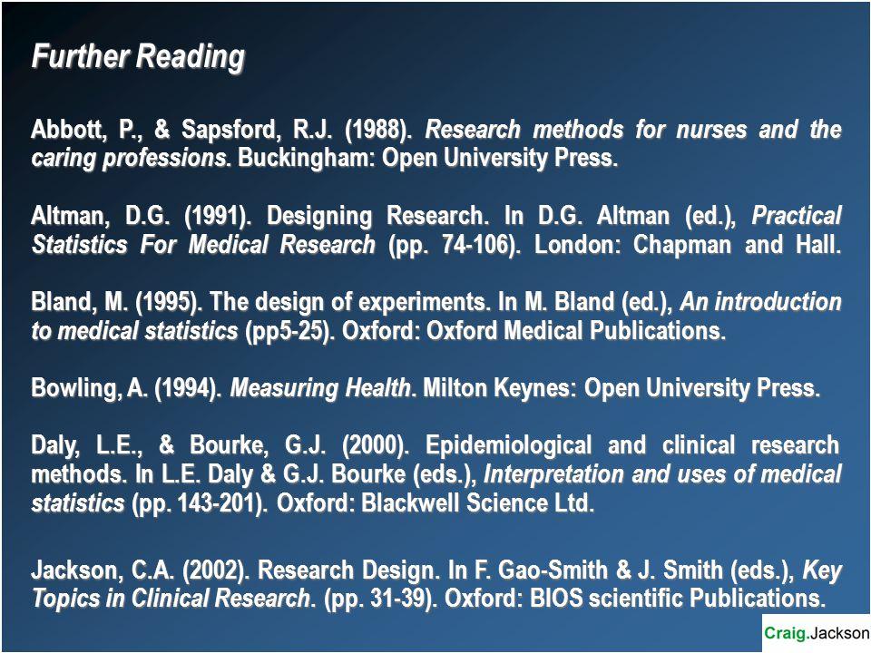Further Reading Abbott, P., & Sapsford, R.J. (1988).