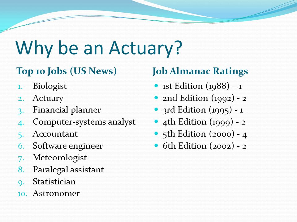Why be an Actuary.