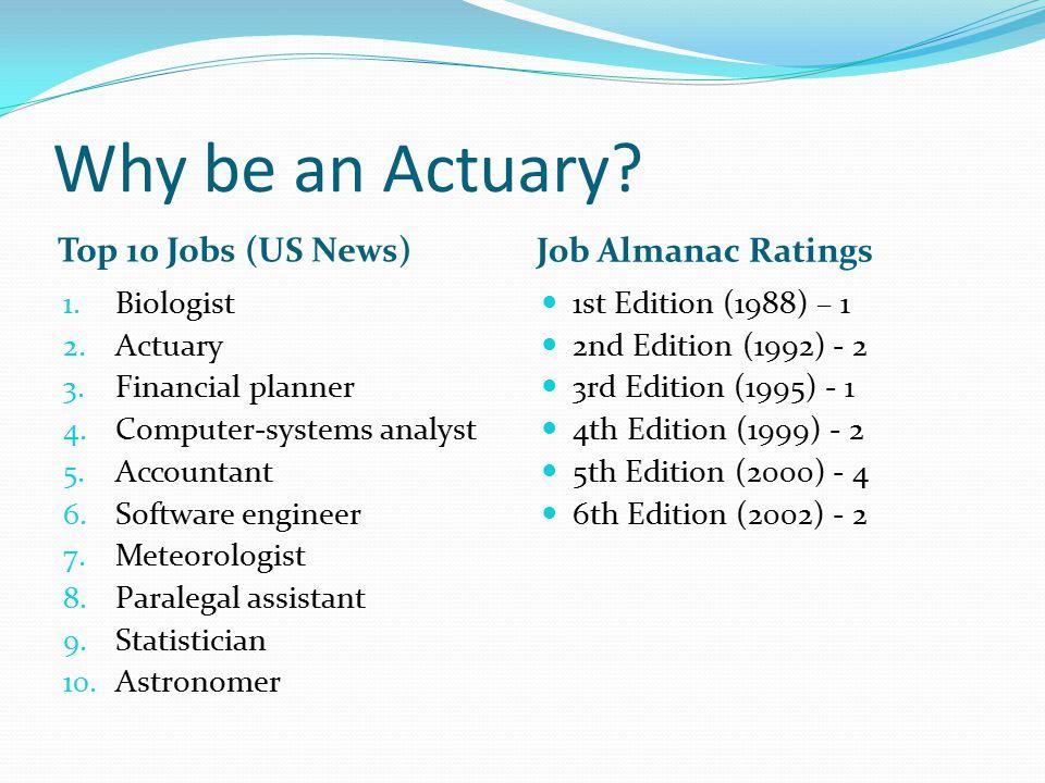 Why be an Actuary. Top 10 Jobs (US News) Job Almanac Ratings 1.