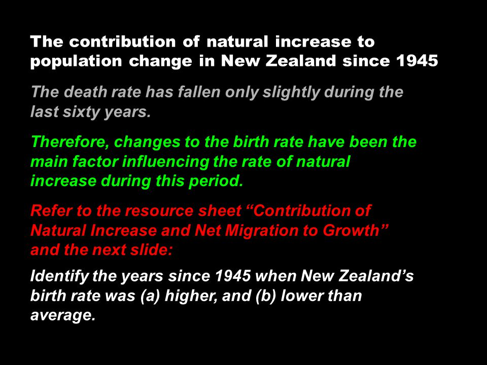 The contribution of natural increase to population change in New Zealand since 1945 The death rate has fallen only slightly during the last sixty year