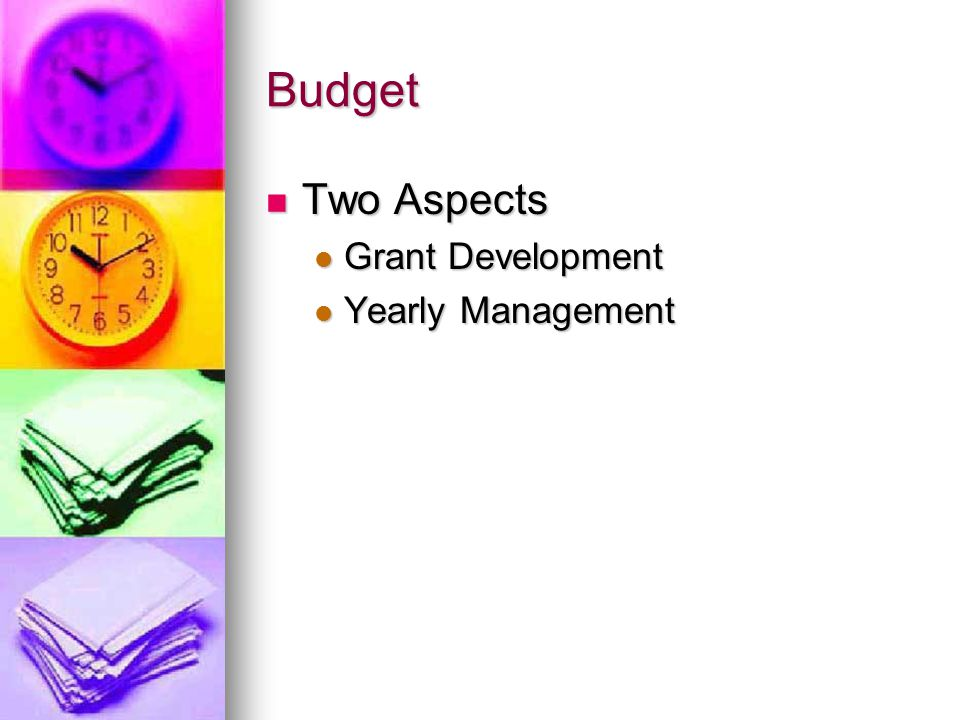Budget Two Aspects Two Aspects Grant Development Grant Development Yearly Management Yearly Management