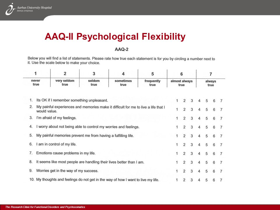 The Research Clinic for Functional Disorders and Psychosomatics AAQ-II Psychological Flexibility
