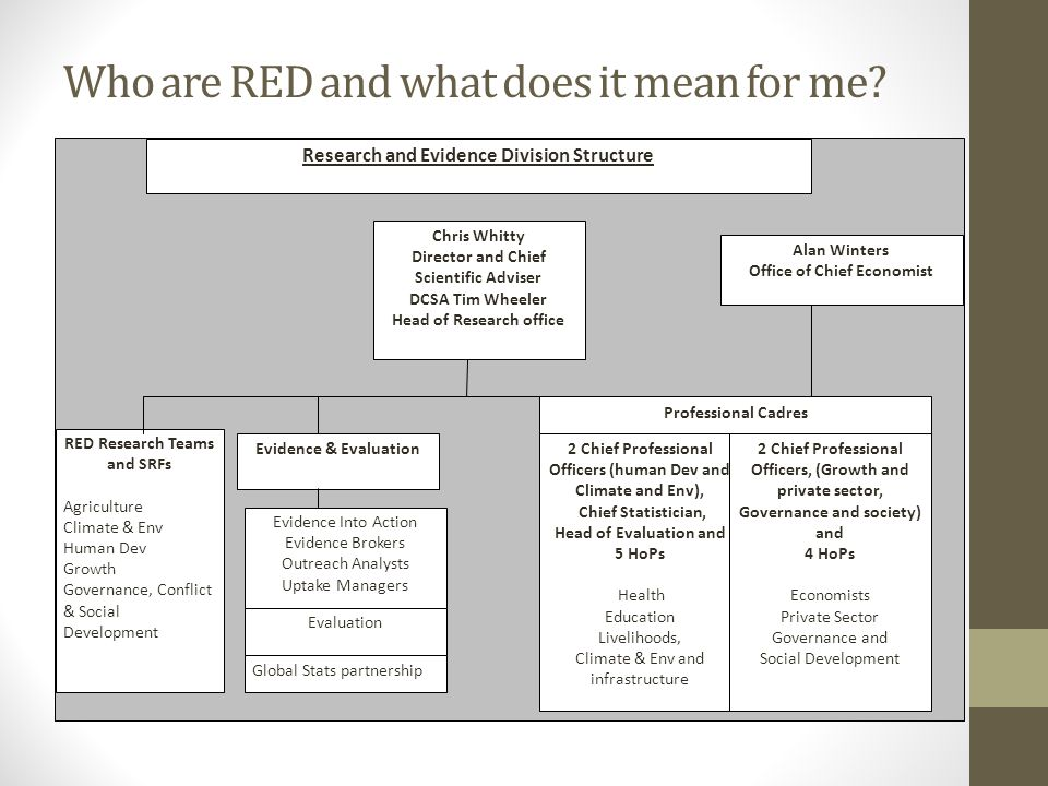 RED: Mission statement RED mission is to support DFID to become world class in using evidence for development impact while ensuring VFM, to influence other donors to be the same and provide better evidence to all decision makers in development.