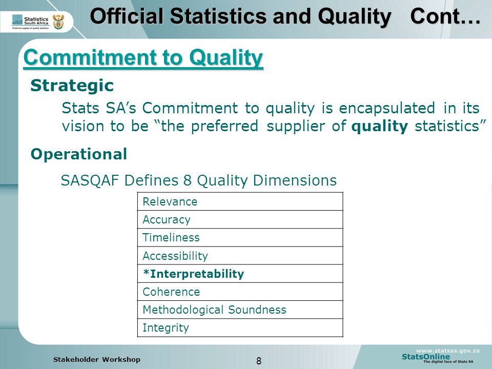 8 Stakeholder Workshop Strategic Stats SA's Commitment to quality is encapsulated in its vision to be the preferred supplier of quality statistics Commitment to Quality Operational SASQAF Defines 8 Quality Dimensions Relevance Accuracy Timeliness Accessibility *Interpretability Coherence Methodological Soundness Integrity Official Statistics and Quality Cont…