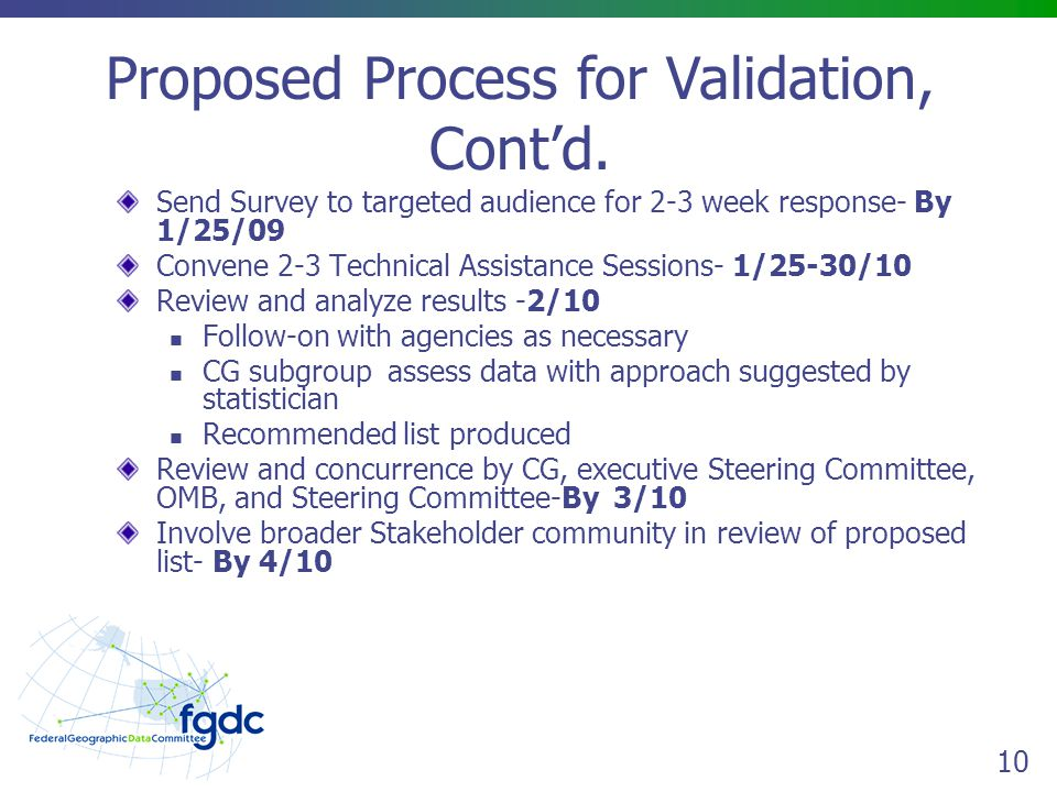 10 Proposed Process for Validation, Cont'd.