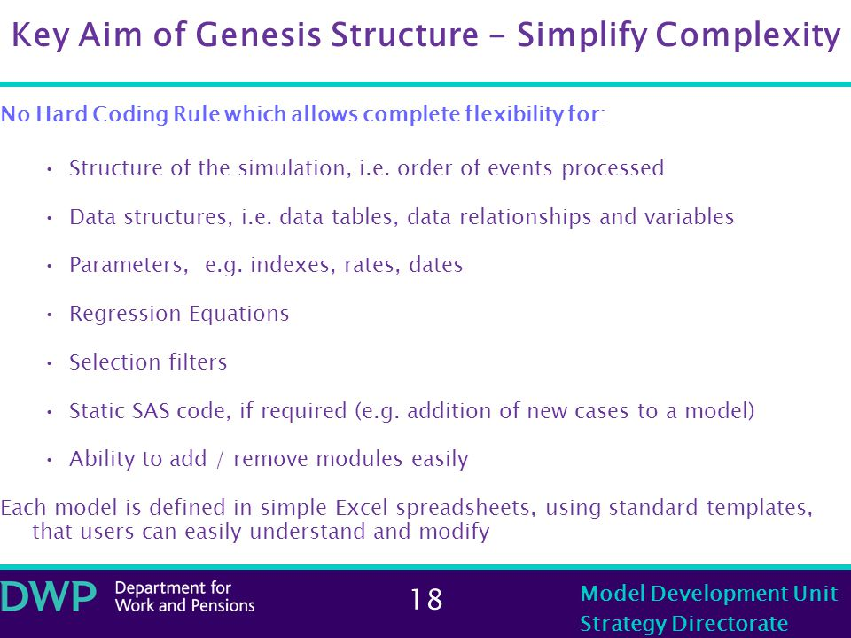 18 Model Development Unit Strategy Directorate Key Aim of Genesis Structure - Simplify Complexity No Hard Coding Rule which allows complete flexibility for: Structure of the simulation, i.e.