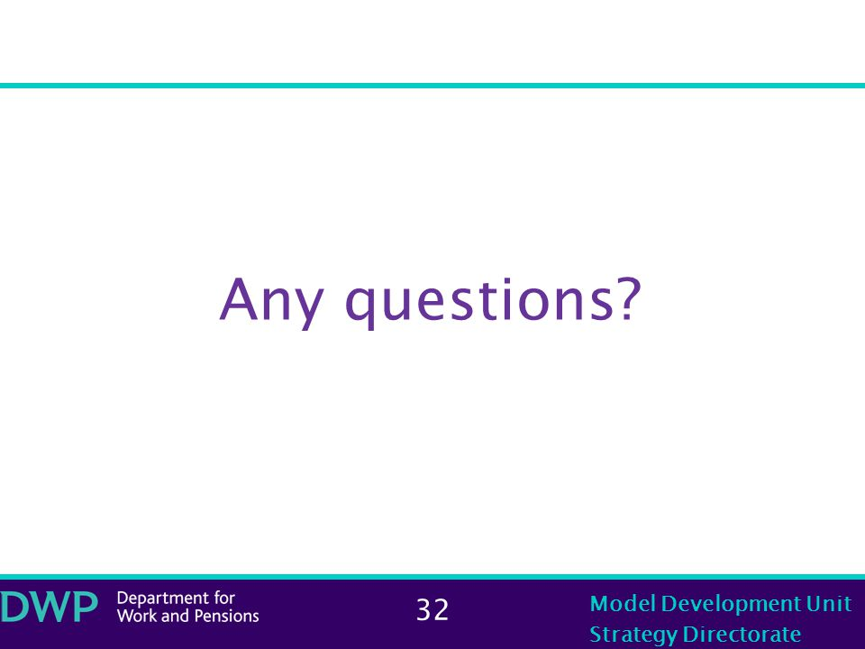 32 Model Development Unit Strategy Directorate Any questions