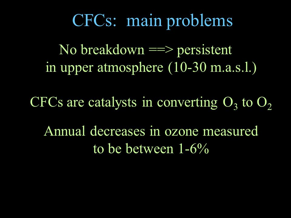 CFCs: main problems No breakdown ==> persistent in upper atmosphere (10-30 m.a.s.l.) CFCs are catalysts in converting O 3 to O 2 Annual decreases in ozone measured to be between 1-6%