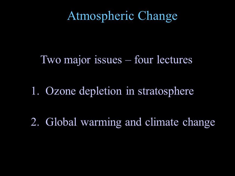 Atmospheric Change 1. Ozone depletion in stratosphere 2.