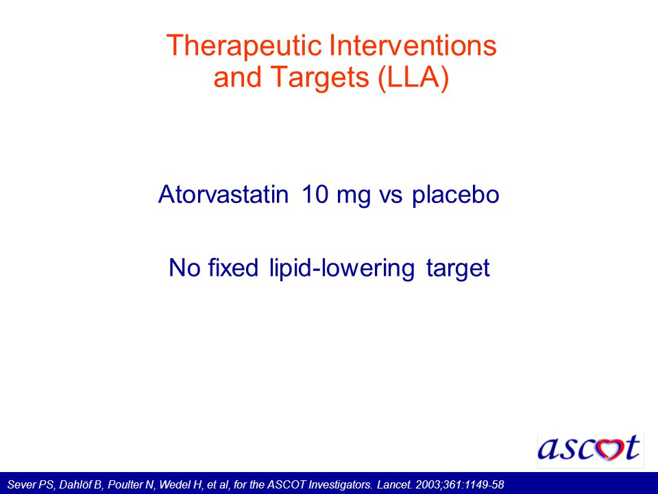 Therapeutic Interventions and Targets (LLA) Atorvastatin 10 mg vs placebo No fixed lipid-lowering target Sever PS, Dahlöf B, Poulter N, Wedel H, et al, for the ASCOT Investigators.