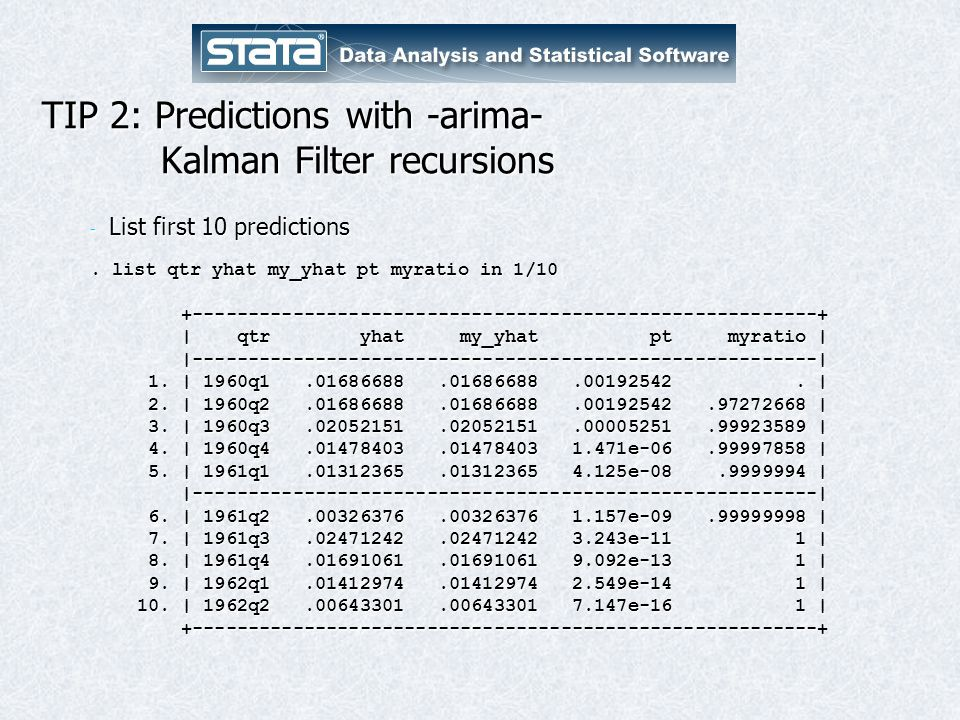 TIP 2: Predictions with -arima- Kalman Filter recursions - List first 10 predictions.