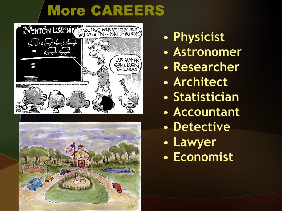 More CAREERS Physicist Astronomer Researcher Architect Statistician Accountant Detective Lawyer Economist