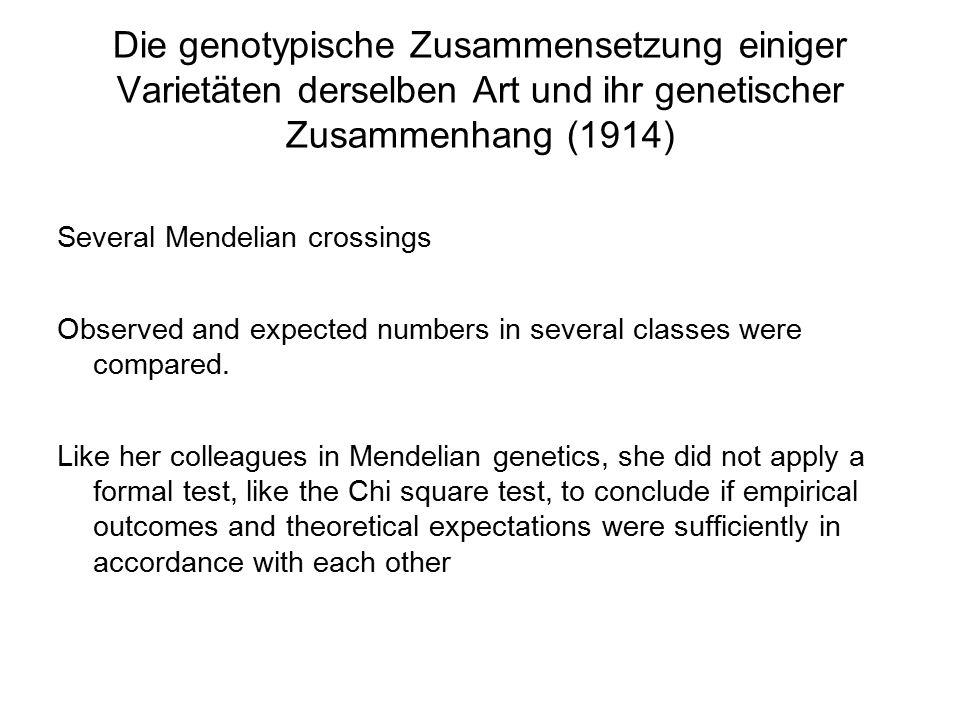 Die genotypische Zusammensetzung einiger Varietäten derselben Art und ihr genetischer Zusammenhang (1914) Several Mendelian crossings Observed and exp