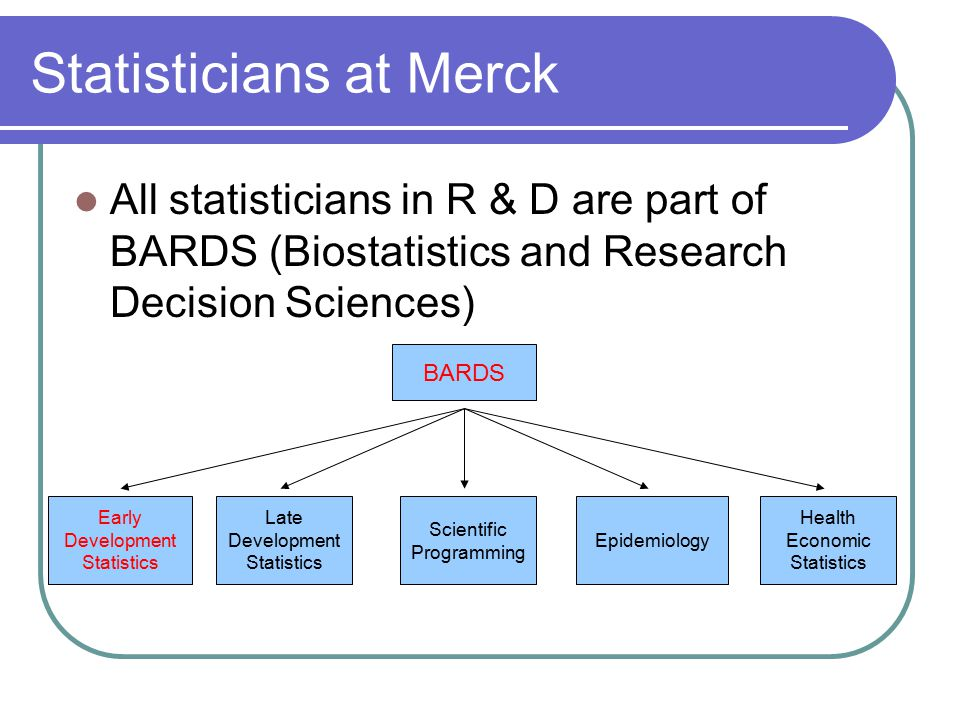 Statisticians at Merck All statisticians in R & D are part of BARDS (Biostatistics and Research Decision Sciences) BARDS Early Development Statistics Late Development Statistics Scientific Programming Epidemiology Health Economic Statistics