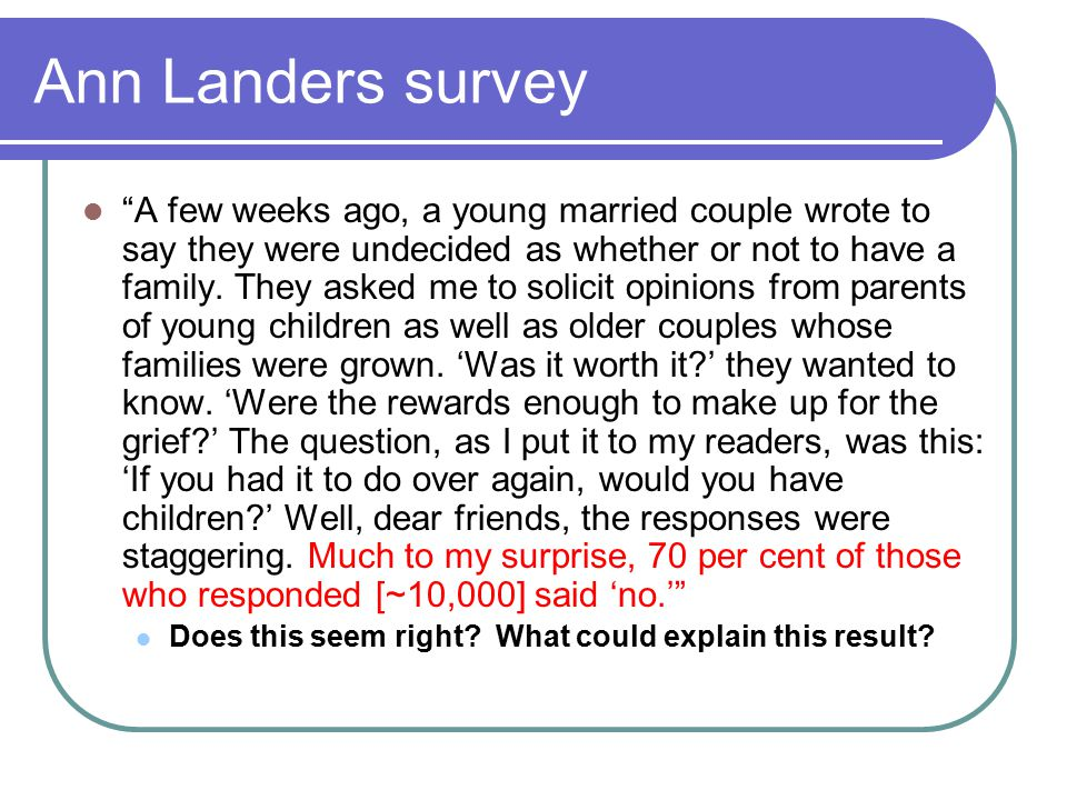 Ann Landers survey A few weeks ago, a young married couple wrote to say they were undecided as whether or not to have a family.
