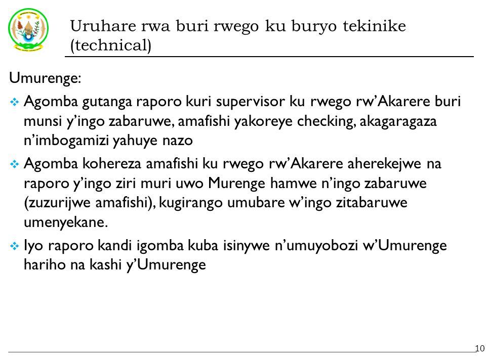 Uruhare rwa buri rwego ku buryo tekinike (technical) Umurenge:  Agomba gutanga raporo kuri supervisor ku rwego rw'Akarere buri munsi y'ingo zabaruwe, amafishi yakoreye checking, akagaragaza n'imbogamizi yahuye nazo  Agomba kohereza amafishi ku rwego rw'Akarere aherekejwe na raporo y'ingo ziri muri uwo Murenge hamwe n'ingo zabaruwe (zuzurijwe amafishi), kugirango umubare w'ingo zitabaruwe umenyekane.