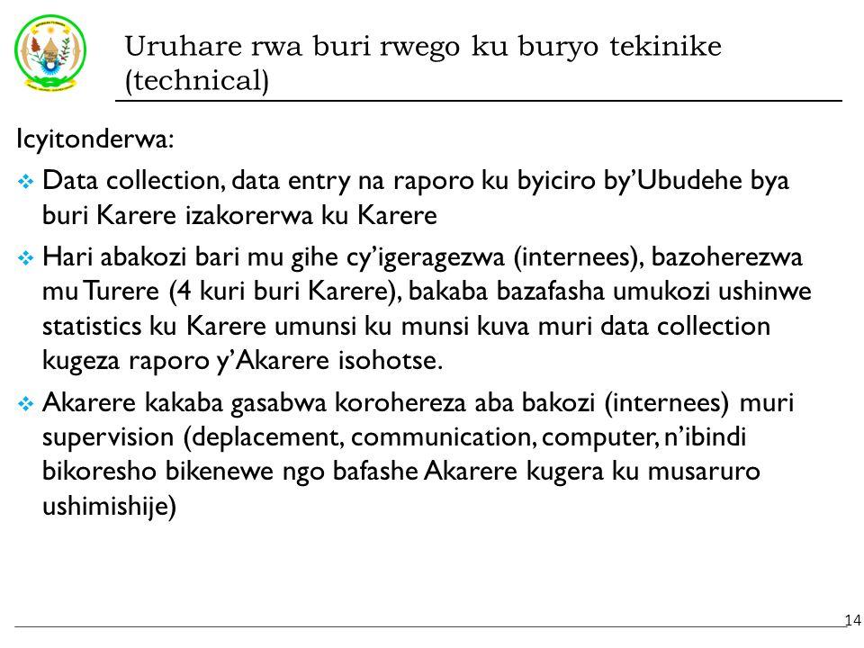 Uruhare rwa buri rwego ku buryo tekinike (technical) Icyitonderwa:  Data collection, data entry na raporo ku byiciro by'Ubudehe bya buri Karere izakorerwa ku Karere  Hari abakozi bari mu gihe cy'igeragezwa (internees), bazoherezwa mu Turere (4 kuri buri Karere), bakaba bazafasha umukozi ushinwe statistics ku Karere umunsi ku munsi kuva muri data collection kugeza raporo y'Akarere isohotse.