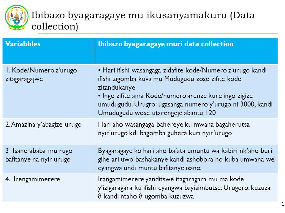Ibibazo byagaragaye mu ikusanyamakuru (Data collection) VariabblesIbibazo byagaragaye muri data collection 1.
