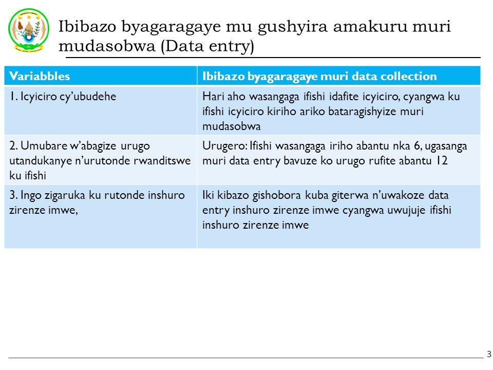 Ibibazo byagaragaye mu gushyira amakuru muri mudasobwa (Data entry) VariabblesIbibazo byagaragaye muri data collection 1.