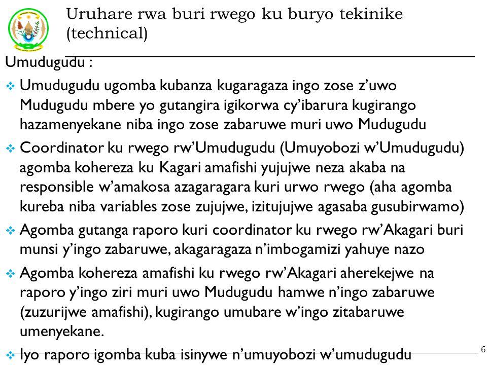Uruhare rwa buri rwego ku buryo tekinike (technical) Umudugudu :  Umudugudu ugomba kubanza kugaragaza ingo zose z'uwo Mudugudu mbere yo gutangira igikorwa cy'ibarura kugirango hazamenyekane niba ingo zose zabaruwe muri uwo Mudugudu  Coordinator ku rwego rw'Umudugudu (Umuyobozi w'Umudugudu) agomba kohereza ku Kagari amafishi yujujwe neza akaba na responsible w'amakosa azagaragara kuri urwo rwego (aha agomba kureba niba variables zose zujujwe, izitujujwe agasaba gusubirwamo)  Agomba gutanga raporo kuri coordinator ku rwego rw'Akagari buri munsi y'ingo zabaruwe, akagaragaza n'imbogamizi yahuye nazo  Agomba kohereza amafishi ku rwego rw'Akagari aherekejwe na raporo y'ingo ziri muri uwo Mudugudu hamwe n'ingo zabaruwe (zuzurijwe amafishi), kugirango umubare w'ingo zitabaruwe umenyekane.