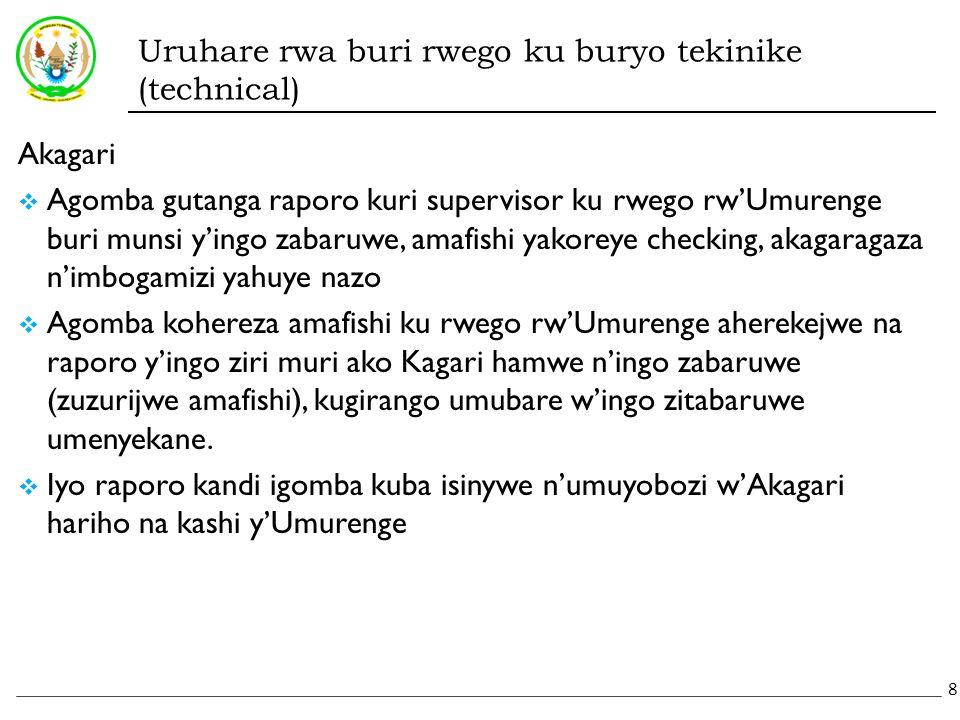 Uruhare rwa buri rwego ku buryo tekinike (technical) Akagari  Agomba gutanga raporo kuri supervisor ku rwego rw'Umurenge buri munsi y'ingo zabaruwe, amafishi yakoreye checking, akagaragaza n'imbogamizi yahuye nazo  Agomba kohereza amafishi ku rwego rw'Umurenge aherekejwe na raporo y'ingo ziri muri ako Kagari hamwe n'ingo zabaruwe (zuzurijwe amafishi), kugirango umubare w'ingo zitabaruwe umenyekane.