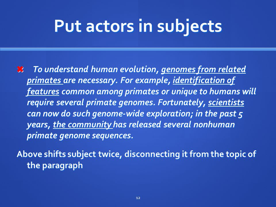 Put actors in subjects ✖ To understand human evolution, genomes from related primates are necessary.