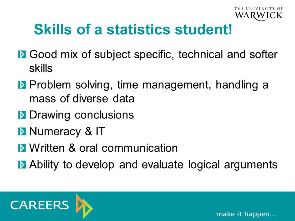 Skills of a statistics student.
