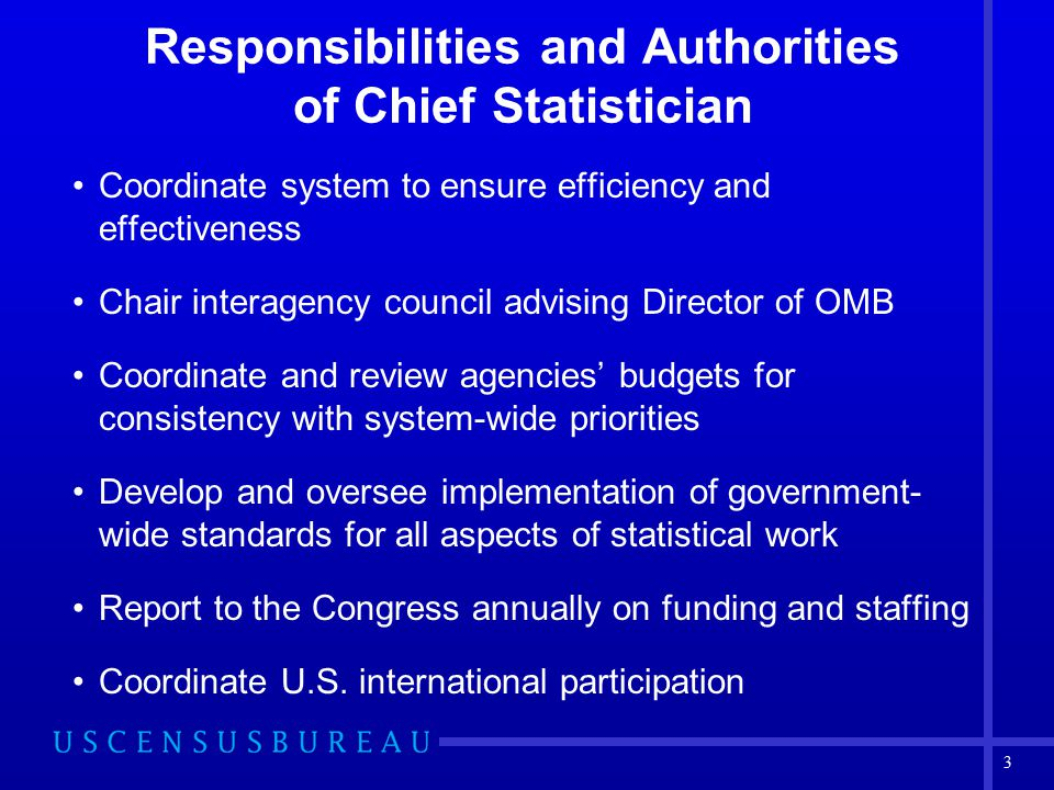Responsibilities and Authorities of Chief Statistician Coordinate system to ensure efficiency and effectiveness Chair interagency council advising Director of OMB Coordinate and review agencies' budgets for consistency with system-wide priorities Develop and oversee implementation of government- wide standards for all aspects of statistical work Report to the Congress annually on funding and staffing Coordinate U.S.