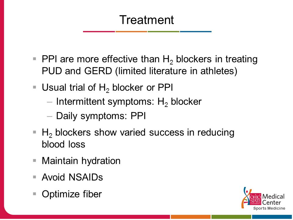 Treatment  PPI are more effective than H 2 blockers in treating PUD and GERD (limited literature in athletes)  Usual trial of H 2 blocker or PPI –Intermittent symptoms: H 2 blocker –Daily symptoms: PPI  H 2 blockers show varied success in reducing blood loss  Maintain hydration  Avoid NSAIDs  Optimize fiber Sports Medicine