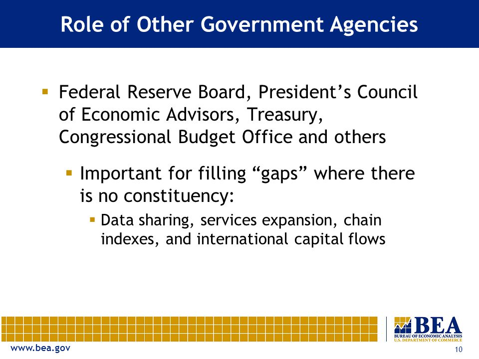 www.bea.gov 10 Role of Other Government Agencies  Federal Reserve Board, President's Council of Economic Advisors, Treasury, Congressional Budget Office and others  Important for filling gaps where there is no constituency:  Data sharing, services expansion, chain indexes, and international capital flows