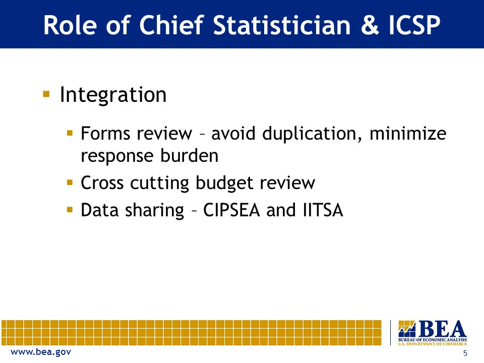 www.bea.gov 5 Role of Chief Statistician & ICSP  Integration  Forms review – avoid duplication, minimize response burden  Cross cutting budget review  Data sharing – CIPSEA and IITSA