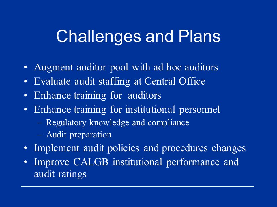Challenges and Plans Augment auditor pool with ad hoc auditors Evaluate audit staffing at Central Office Enhance training for auditors Enhance training for institutional personnel –Regulatory knowledge and compliance –Audit preparation Implement audit policies and procedures changes Improve CALGB institutional performance and audit ratings