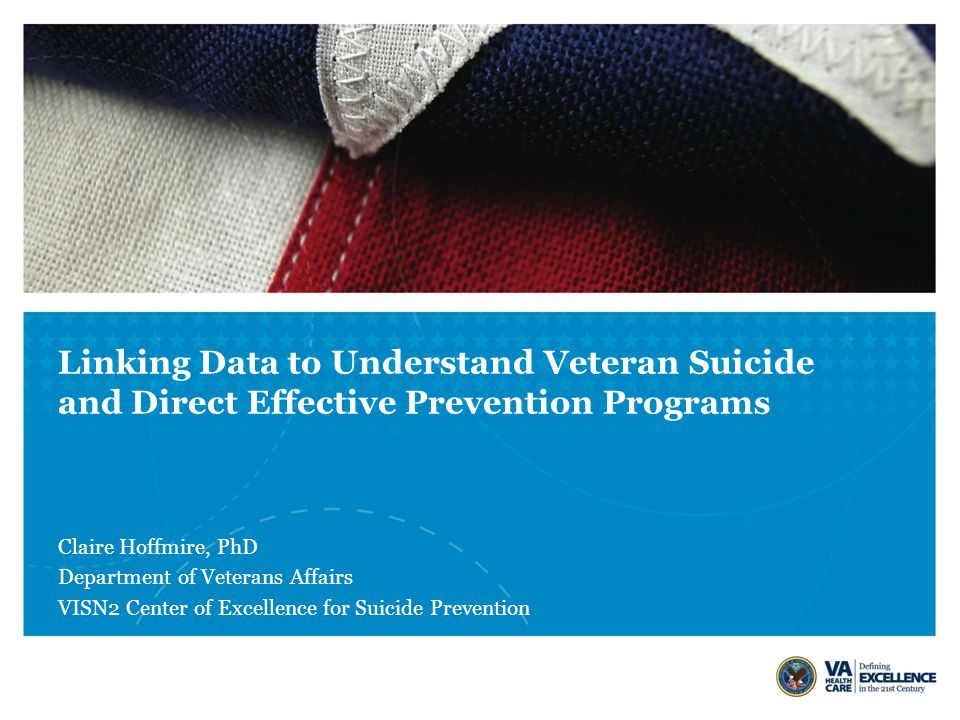 Linking Data to Understand Veteran Suicide and Direct Effective Prevention Programs Claire Hoffmire, PhD Department of Veterans Affairs VISN2 Center of Excellence for Suicide Prevention